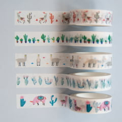 Kit Washi Tapes Lhamas e Cactos