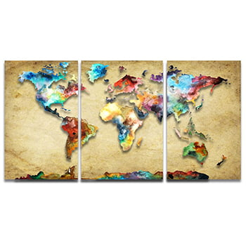 Tela Canvas Mapa Mundi Colorido Vintage para Escritório