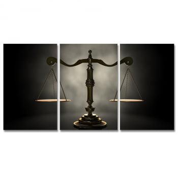 Conjunto 3 Telas em Canvas para Advocacia Balança da Justiça