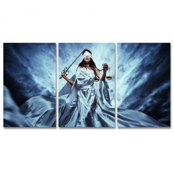 Conjunto 3 Telas em Canvas para Advocacia Deusa Themis Sky