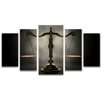 Quadro Canvas Balança da Justiça para Escritório Advocacia 5 Telas