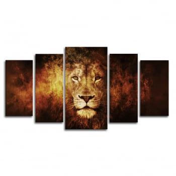Quadro Canvas Leão em Chamas 5 Telas para Sala
