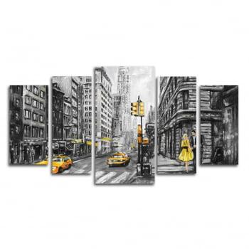 Quadro Canvas New York Yellow 5 Telas para Sala e Escritório