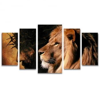 Quadro Canvas Paixão de Cristo Leão de Judá 5 Telas Sala
