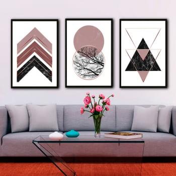 Conjunto de 3 Quadros Decorativos Escandinavo Geométrico Rosa