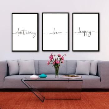 Conjunto de 3 Quadros Decorativos Dont Worry Be Happy Corporativo - Branco