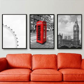Conjunto de 3 Quadros Decorativos para Sala London - Vermelho e Preto