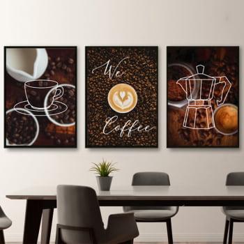 Conjunto de 3 Quadros Decorativos We Coffee Corporativo - Marrom
