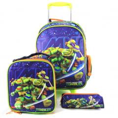 Mochila de Rodinha Tartarugas Ninja com Lancheira e Estojo Kit Escolar DMW 11232