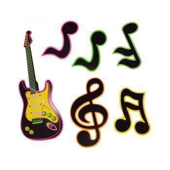 Kit Painel Guitarra e Notas Musicais - 6 peças