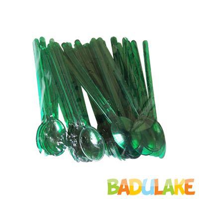 Mini Colher para Brigadeiro Verde Folha- 50 unidades