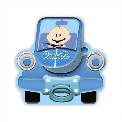 Convite Carrinho Bebê Azul - 8 unidades
