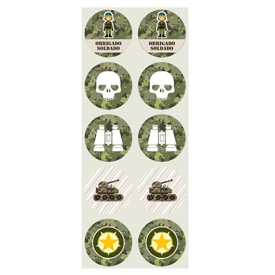 Adesivo Decorativo Redondo Festa Militar - 30 unidades