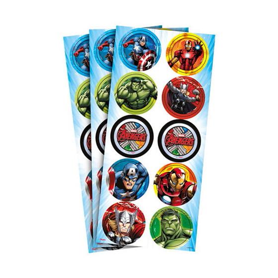Adesivo Decorativo Redondo Os Vingadores - 30 unidades