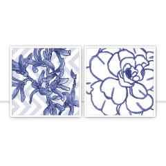 Composição de quadros Blue Flowers por Sussu e Juju
