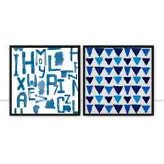Conjunto de quadros Blue Abstract por Caio Zimmermann