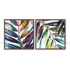 Conjunto de Quadros Foliage Multi Color Q I e II