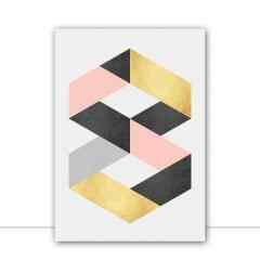 Quadro Geométrico Cinza e ouro II por Vitor Costa