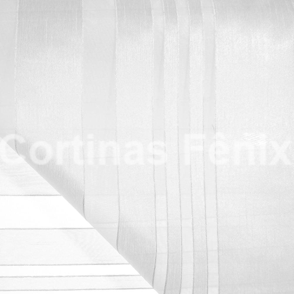 Tecido Voil Flamê Listrado Branco Largura 2,80m