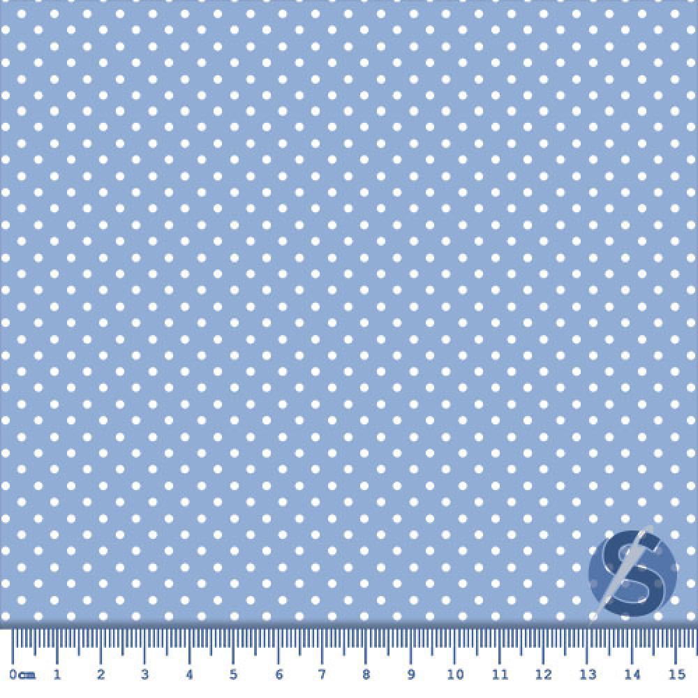Tecido Tricoline Azul Bebê Poa Pequeno Branco