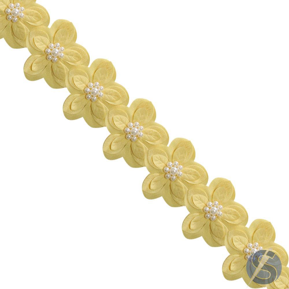 Guipir Flor com Pérola no Meio Amarela