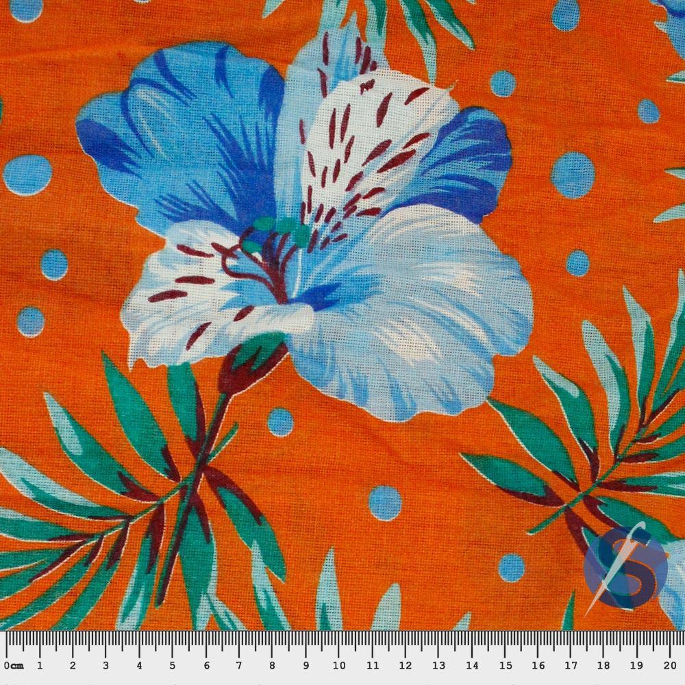 Chita Laranjada Flor Azul