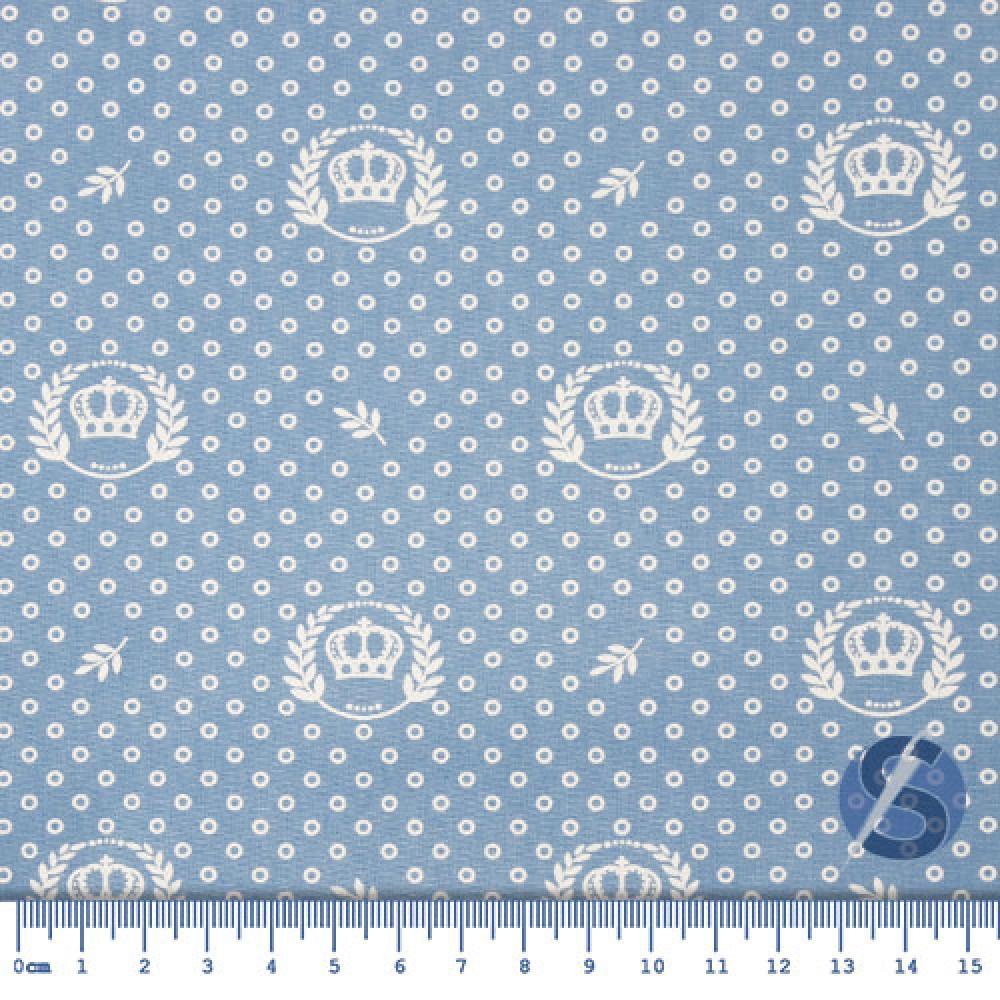 Tecido Tricoline Azul Bebê Coroas e Ramos