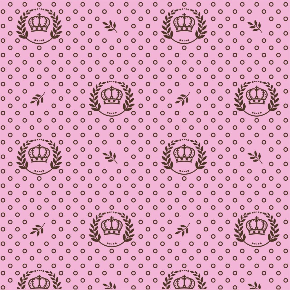 Tecido Tricoline Rosa Coroa Ramos Marrom