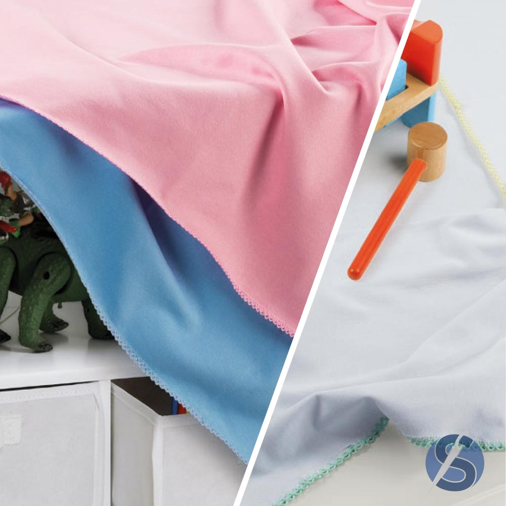 Cueiro para Bebê Branca Crochet Rosa