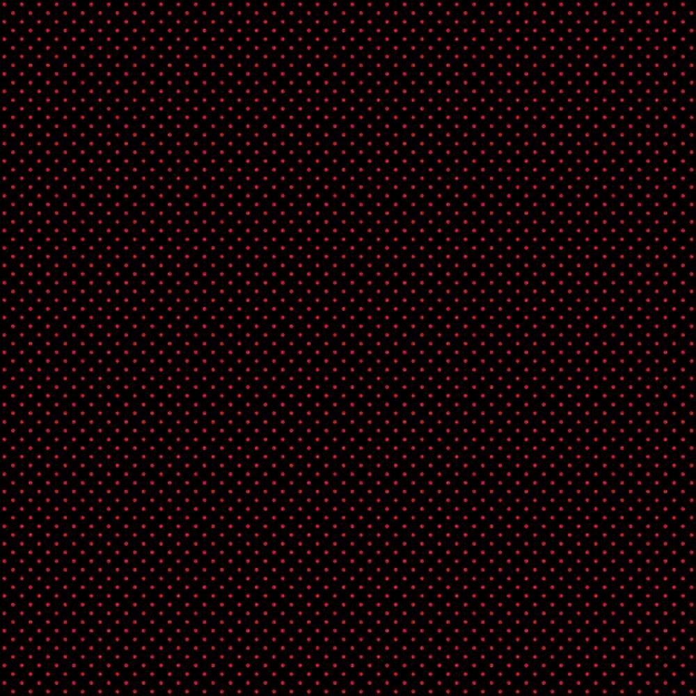 Tecido Tricoline Preto Mini Poá Vermelha