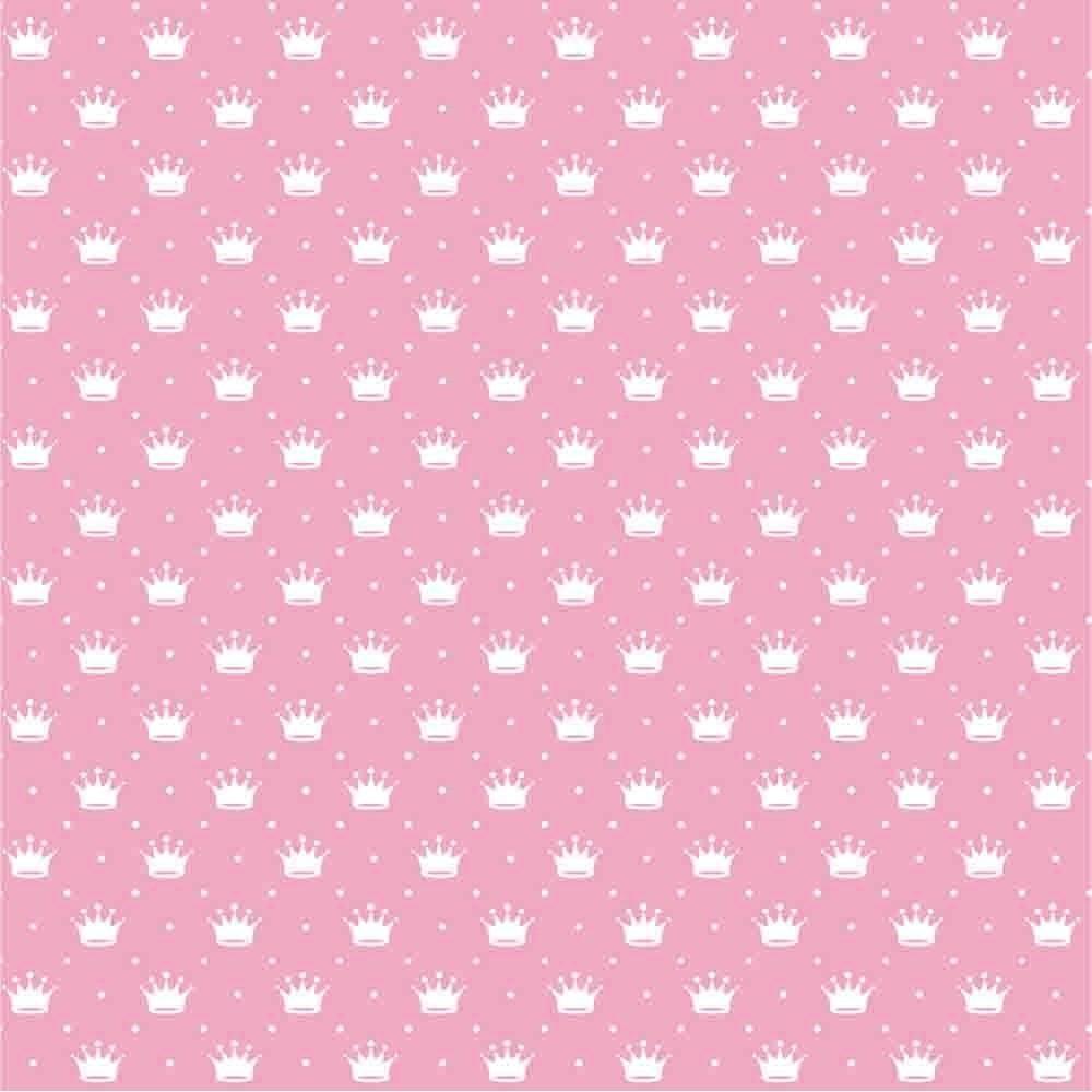 Tecido Tricoline Rosa Bebê Poá e Coroas