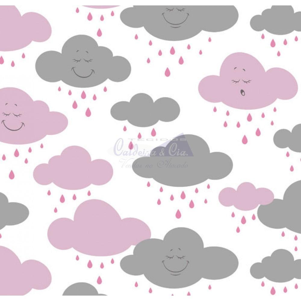 Tecido Tricoline Estampado Cloud Rosa com Cinza