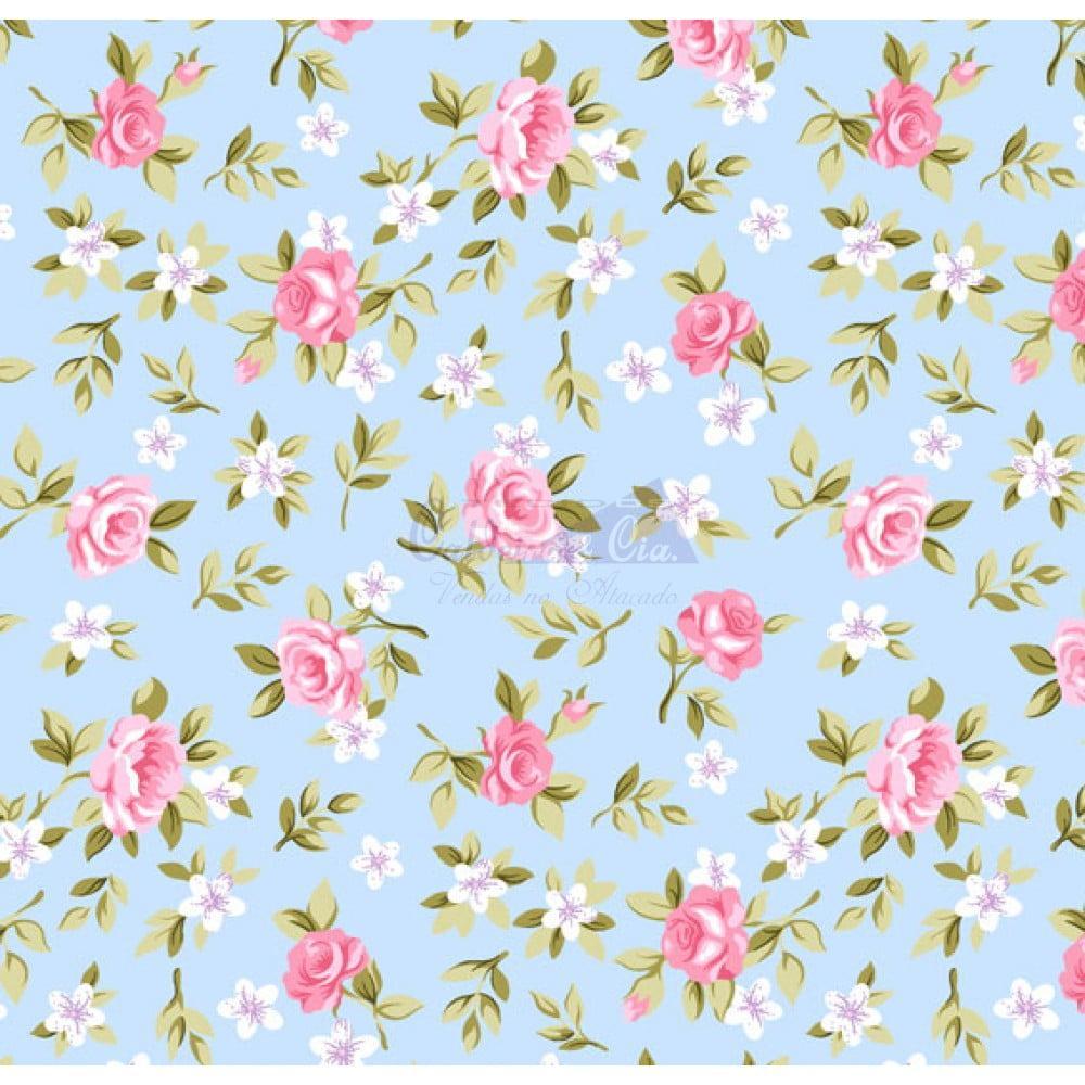 Tecido Tricoline Floral Lúcia Azul com Rosa