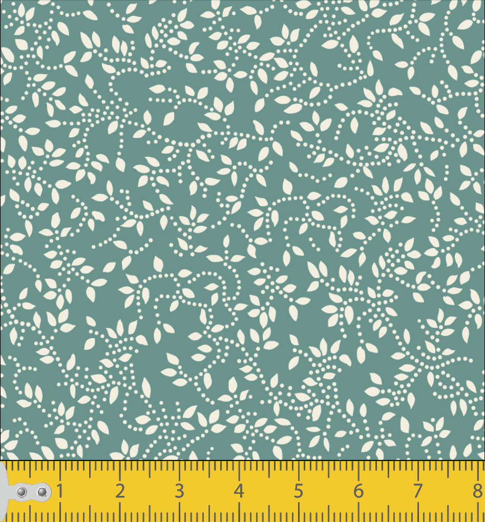 Tecido Tricoline Verde Oliva Folhas Branca