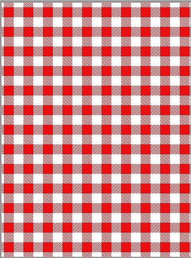Tecido Tricoline Xadrez Branco com Vermelho