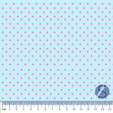 Tecido Tricoline Fundo Azul Bebê com Poá Rosa