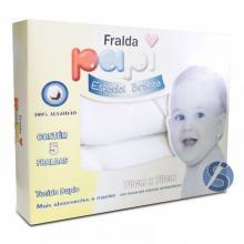 Fralda Papi Tecido Duplo Especial Branca - 70cm x 70cm - 5 Unidades