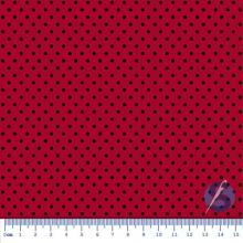 Tecido Tricoline Vermelho Poá Pequeno Preto