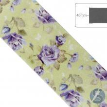 Fita de Cetim Flores Lilás com fundo verde claro - 40mm