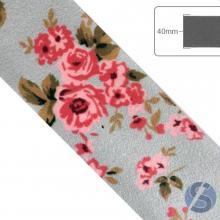 Fita de Cetim Flores Rosas fundo cinza - 40mm