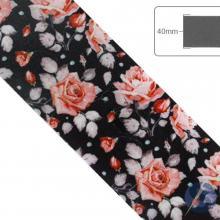 Fita de Cetim Flores rosa fundo preto - 40mm