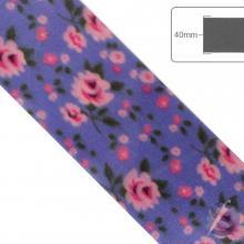 Fita de Cetim Flores Rosas fundo roxo - 40mm