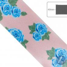 Fita de Cetim Flores Azuis fundo Rosa - 40mm