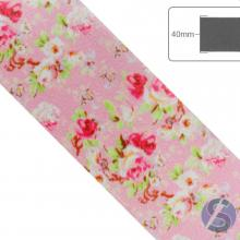 Fita de Cetim Flores Pink Fundo Rosa - 40mm