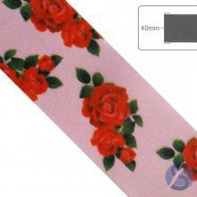 Fita de Cetim Flores Vermelhas fundo rosa - 40mm