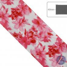 Fita de Cetim Flores Rosas Fundo Branco - 40mm