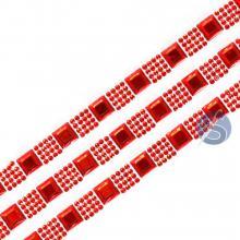 Cartela de Strass Adesivo Quadrados Vermelho - 1cm