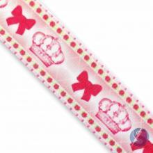 Fita de Cetim Coroa Rosa Laço  35mm