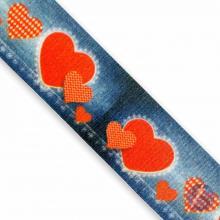 Fita de Cetim Coração Vermelho Fundo Jeans 35mm