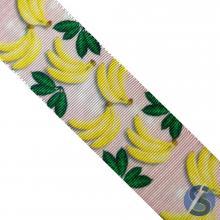 Fita de Gorgurão Banana Listra Rosa 38mm